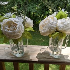 Two piece white peony floral arrangement